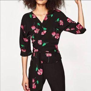 Zara Floral Wrap Top Small